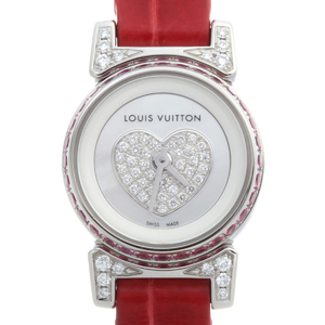 Louis Vuitton Tambour Bijou Diamond Ladies Watch Q151F Stainless Steel White Shell Dial DH51617