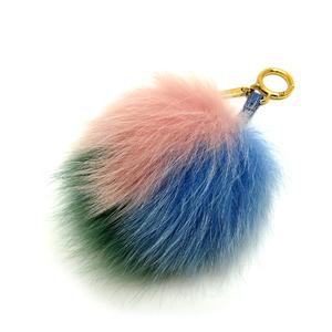 Fendi Pom Charm II Ladies Fox Fur Blue Pink Green