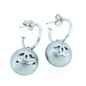 Chanel Cocomark Ladies Earrings Metal Silver