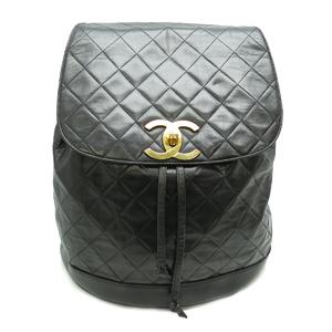 Chanel matrasse bag pack ladies backpack daypack lambskin black x gold metal fittings DH51873