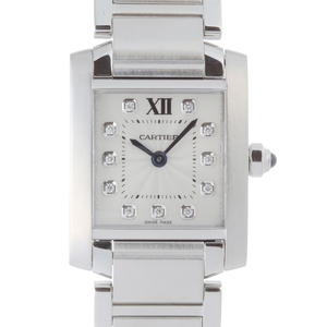 CARTIER Tank Fran?aise SM 11P Diamond Ladies Watch WE110006 Stainless Steel Silver Roman Dial