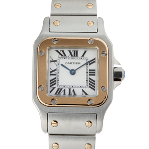 CARTIER Santos Galve SM Ladies Watch W20103C4 Stainless Steel Pink Shell Dial