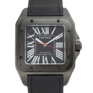 CARTIER Santos 100 Mens Watch WSSA0006 Stainless Steel PVD Black Dial
