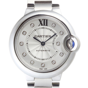 CARTIER Baron Blue 11P Diamond Ladies Watch WE902074 Stainless Steel Silver Dial