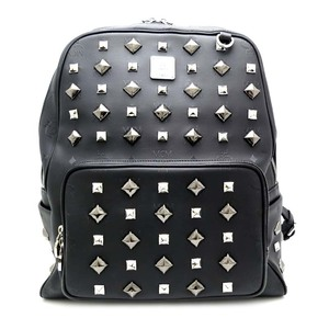 Mcm studded backpack ladies' men's daypack MMK1SVH01BK001 PVC black DH53063