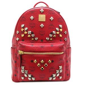 Mcm studs backpack ladies daypack MMKGAVE19RU001 PVC red DH53225