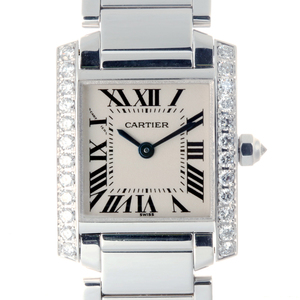 CARTIER Tank Fran?aise SM Side Diamond Ladies Watch WE1002S3 750 White Gold Silver Dial