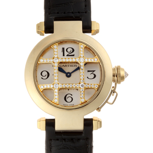 CARTIER Pasha 32 Dome Diamond Grid Ladies Watch WJ11951G 750 Yellow Gold Silver Dial