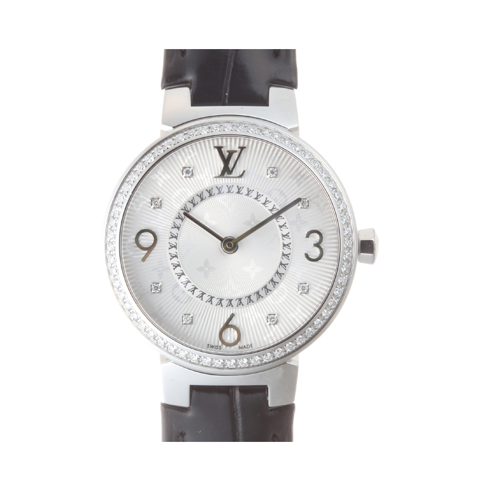 Louis Vuitton Tambour Monogram Ladies Watch Q12MF Stainless Steel Silver Guilloche Arabian Dial DH54450
