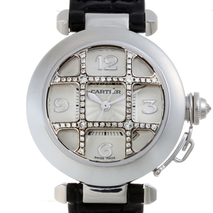 CARTIER Pasha 32 Dome Grid Diamond Ladies Watch WJ111356 2529 750 White Gold Silver Dial