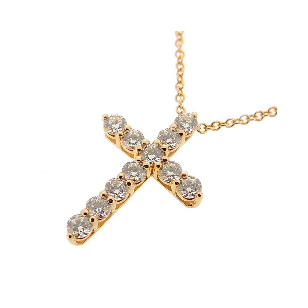 Tiffany 0 42ct Diamond Cross Pendant Small Ladies Necklace 750 Pink Gold Dh54845 Elady Com