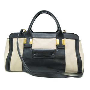 Chloé Chloe Alice Ladies Handbag Leather Beige x Black DH54974