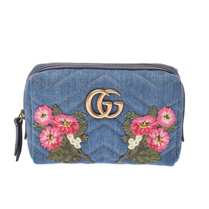 GUCCI Gucci GG Marmont Embroidery Japan Limited Blue 476165 Women's Denim Pouch