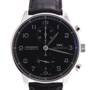 IWC SCHAFFHAUSEN Idabrucey Schaffhausen Portugieser Chrono IW371447 Mens SS Leather Watch Automatic winding Black Dial