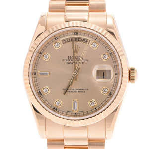 ROLEX Rolex Day Date 10P Diamond 118238A Men's YG Watch Automatic winding Champagne Dial