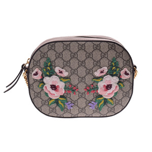 Gucci GG Supreme Chain Shoulder Bag Flower Embroidery Brown Gray 409535 Ladies PVC Leather GUCCI