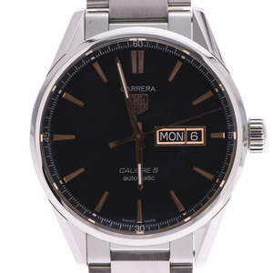 TAG HEUER Tag Heuer Carrera Caliber 5 Day Date WAR201C Men's SS Watch Automatic Black Dial