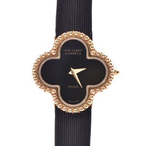 Van Cleef & Arpels Alhambra Onyx Ladies YG Leather Watch Quartz Black Dial