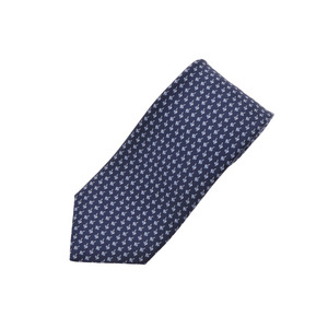 HERMES tie blue 100% men's silk