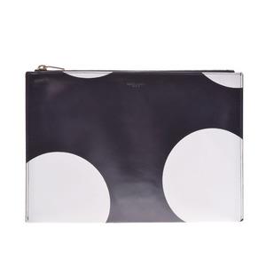 Saint Laurent Dot Pattern Black White Gold Hardware Ladies Clutch Bag SAINT LAURENT