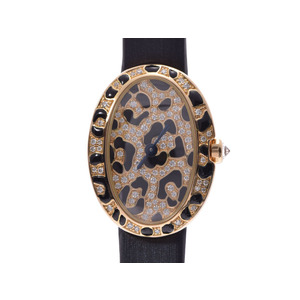 CARTIER Mini veneur Panther spots diamond enamel dial HPI00962 Ladies YG leather buckle Quartz Watch