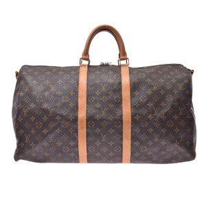 LOUIS VUITTON Louis Vuitton Monogram Keepall Band Lière 55 Brown M41414 Unisex Canvas Boston Bag