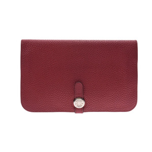 HERMES Hermes Dogon GM Ruby Silver hardware □ N carved seal (around 2010) Unisex taurillon clemence long wallet
