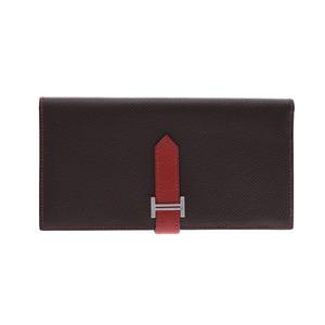 HERMES Hermes Bearnsfure brown red x silver hardware □ L stamp (circa 2008) Unisex V-Epson bi-fold wallet