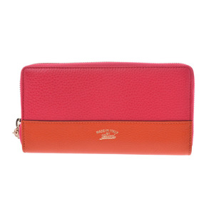 Gucci Round Zipper Wallet Pink Orange Bicolor Ladies Calf Bamboo GUCCI
