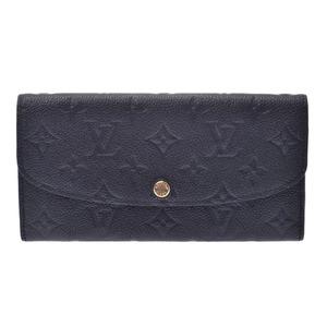 LOUIS VUITTON Louis Vuitton Monogram Unplant Portfoil Emily Black Beige M62369 Unisex Leather Long Wallet