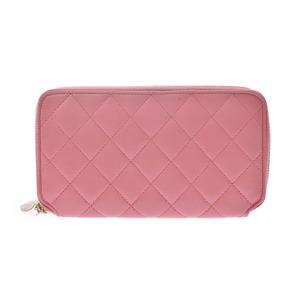 Chanel matrasse round zipper wallet pink heart-shaped pull ladies lambskin CHANEL