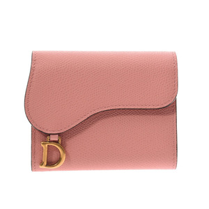 Christian Dior Saddle Wallet Pink Ladies Leather Tri-Fold