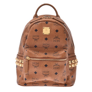 MCM backpack mini side studs cognac gold lady's daypack