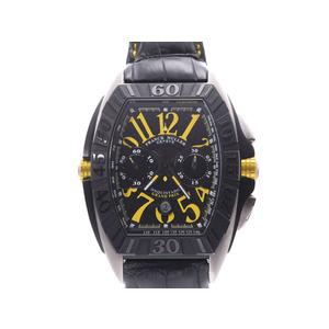 FRANCK MULLER Conquistador Black Dial 9900CC Mens Titanium Leather Automatic Mens Watch
