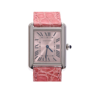 CARTIER Tank Solo Pink Dial Ladies Steel Leather Quartz Watch