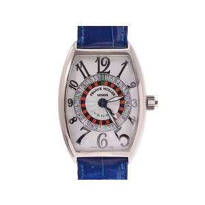 FRANCK MULLER Vegas Silver Dial 5850VEGAS Mens WG Leather Automatic Watch