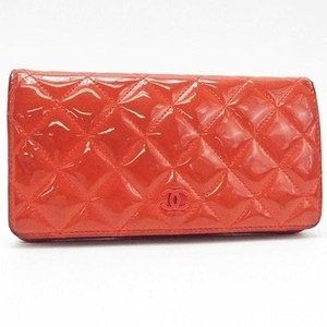 Chanel Timeless Classic Folded Wallet Cocomark Enamel Patent Leather Salmon Pink Orange A31509 CHANEL