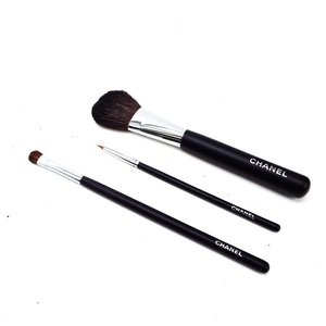 CHANEL Set Dopanso Makeup Brush 3 & Pouch Cheek Eyeshadow Eyeline Face Cosmetic Accessories