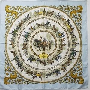 Hermes silk scarf Carre 90 LA PROMENADE DE LONGCHAMPS Walk to Longchamp White x Blue HERMES carriage