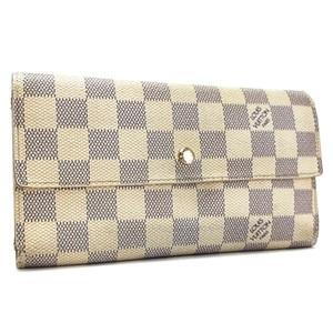 Louis Vuitton Damier Azur Porto Tresol International Tri-Fold Wallet N61732 LOUIS VUITTON LV White