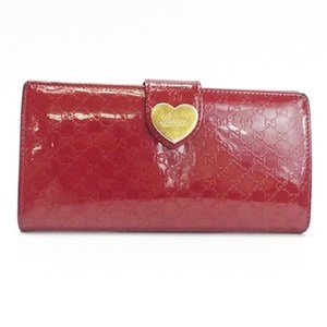 Gucci micro sima W hook long wallet lovely heart plate GG pattern patent leather enamel red 203550 GUCCI