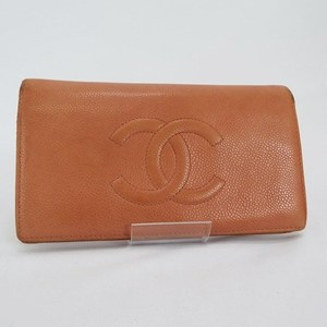 Chanel Caviar Skin Folded Wallet Orange Coco Mark CHANEL With Serial Sticker