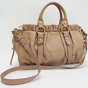 Miu Miu Miu 2WAY tote bag shoulder diagonal hanging leather gold metal beige MIUMIU 2 way gather