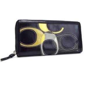 Coach Inlaid C Zip Around Round Zipper Wallet Black Leather COACH