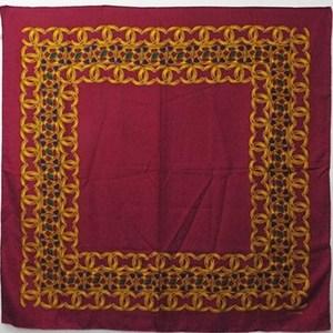 CHANEL silk scarf red