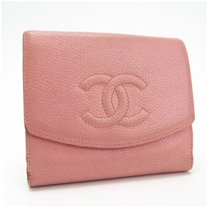 CHANEL Caviar Skin W Hook Wallet Pink Cocomark Compact