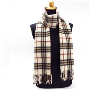 Burberry London Cashmere Muffler Off White x Check 176 30 cm BURBERRY LONDON