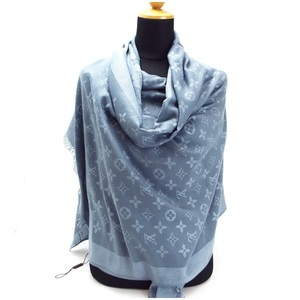 Louis Vuitton Monogram Large Format Stall Shawl Blue Wool 100% 178 × 72cm LOUIS VUITTON LV