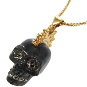 Alexander McQueen Skull Mohawk Pendant Necklace Gray Gold Accessory 0050Alexander