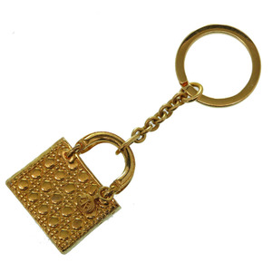 Christian Dior Lady Canage Charm Keychain Gold 0196